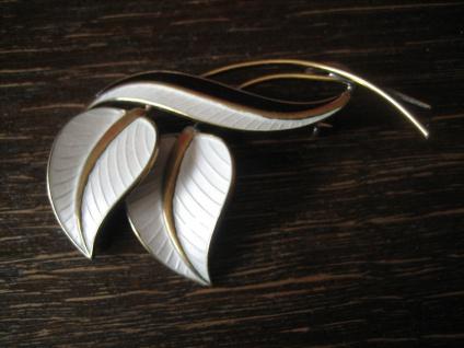florale Vintage Designer Brosche schwarz weiß Emaille A. Scharning 925er Silber