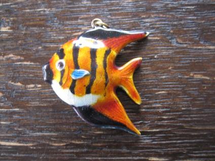 super niedlicher vintage Anhänger exotischer Fisch Skalar Emaille emailliert