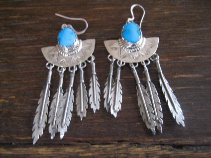prächtige Türkis Ohrringe 925er Silber Indianerschmuck JJ Johnny Johnson Navajo