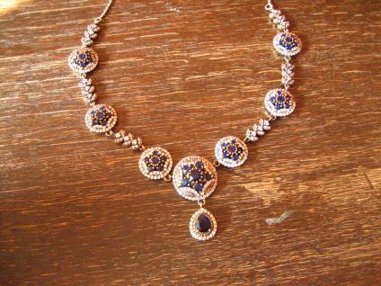 Kronjuwelen gesucht ? prunkvolles saphir zirkonia diamant Collier 925er Silber