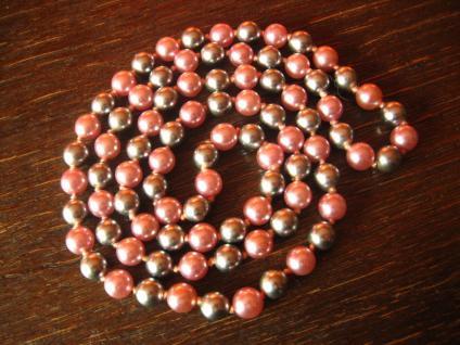 zeitlose lange Vintage Kette Perlenkette Zuchtperlen Perlen grau + rosé 80 cm