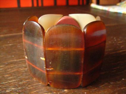 ausgefallener 6, 5 cm breiter Vintage Armreif echtes Horn Ethno Stil Handarbeit - Vorschau 3