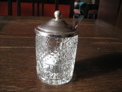 edles Marmeladenglas mit Deckel und Löffel Honigglas Senfglas Frühstück Menage