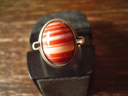 optisch reizvoller Art Deco Ring mit seltenem Streifenachat 925er Silber 19, 5 mm
