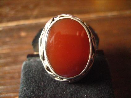 super schöner Art Deco Ring Carneol Goldschmiede Handarbeit 900er Silber RG 58 - Vorschau 2