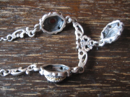 reizvolles antikes Trachten Dirndl Granat Collier Kette 835er silber Abhängung - Vorschau 3