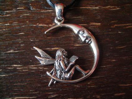 bezaubernde Elfe Fee im Mond spielend Fairy in Moon 925er Silber et Nox neu