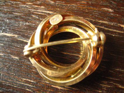 zauberhafte Art Deco Brosche gold verschlungener Knoten Kranz zeitlos und edel - Vorschau 3