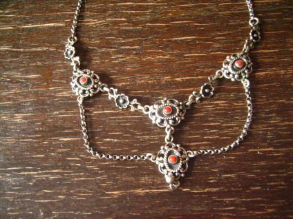 bezauberndes Trachten Collier Kette 835er Silber rote Koralle Dirndl Kropfkette