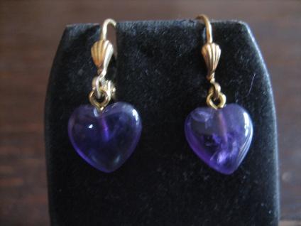 bezaubernd süße Herz Ohrringe Hänger 925er Silber gold Amethyst lila violett NEU