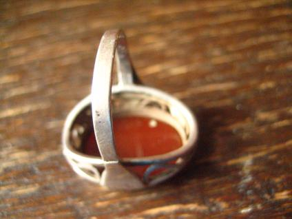 super schöner Art Deco Ring Carneol Goldschmiede Handarbeit 900er Silber RG 58 - Vorschau 4