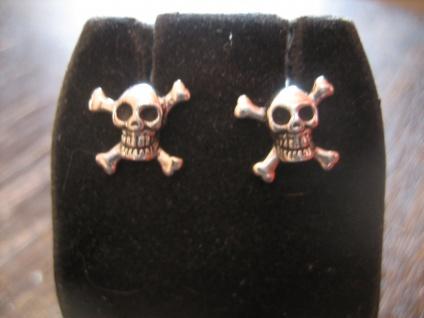 Totenkopf gekreuzte Knochen Ohrringe Stecker 925er Silber für Seebär und Pirat