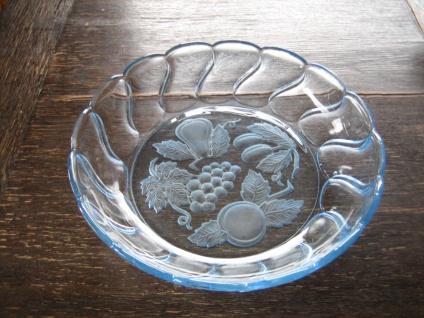 große vintage Pressglas Schale Anbietschale Obstschale 50er Jahre hellblau blau