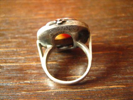 prächtiger Art Deco 835er Silber Streifenachat Ring Goldschmiede Handarbeit 1920 - Vorschau 4