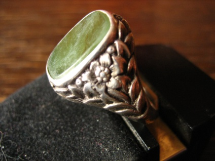 eleganter Art Deco Herrenring Siegelring Ring 835er Silber Jade RG 63 20, 2 mm