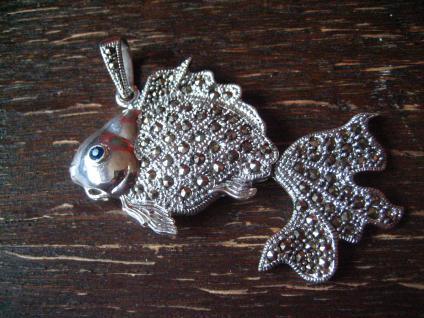 prächtiger Markasit Anhänger Goldfisch Schleierfisch 925er Silber beweglich - Vorschau 2