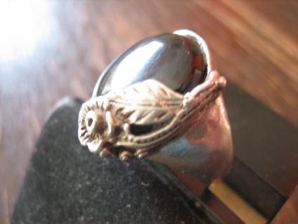 romantischer Vintage Ring Onyx Blume Blüte Blumenring 835er Silber ausgefallen - Vorschau 3