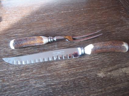 prächtiges Wild Vorlegebesteck Tranchierbesteck für Braten Messer Gabel England