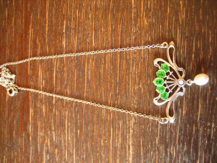 herrliches bezauberndes Jugendstil Collier Emaille grün Opal Perle 925er Silber - Vorschau 2