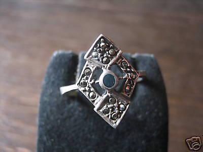feiner Art Deco Markasit Ring Schiffchenring 925er Silber Markasiten elegant - Vorschau 1