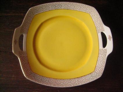 süße Anbietschale Gebäckschale Gebäckteller vintage Porzellan in quietsch Gelb