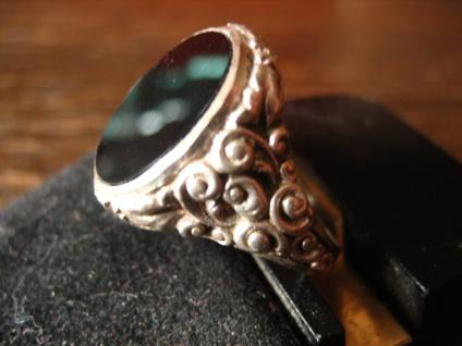 stilvoller Art Deco Herrenring Siegelring 835er Silber Onyx Ring 19 mm RG 60 - Vorschau 3