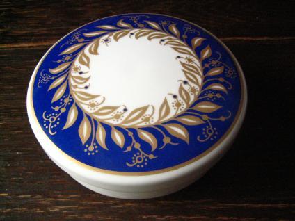 Thomas Porzellan Art Deco Dose Deckeldose weiß blau wunderschönes Dekor - Vorschau 3
