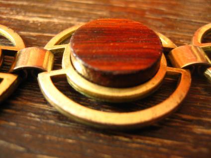 ausgefallenes Art Deco Vintage Designer gold Armband mit Holz Inlays - Vorschau 3