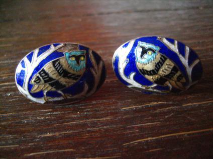Rarität Vintage Designer Manschettenknöpfe Eule Kautz Uhu Emaille silber gold