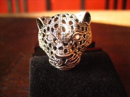 exklusiver Statement Ring schwarzer Panther Leopard Jaguar 925er Silber RG 66