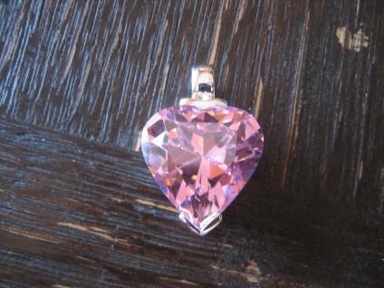 prächtiger Designer Herz Anhänger riesiges Topas Herz 925er Silber Pink rosa