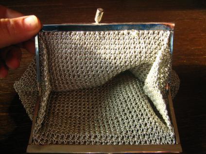 reizende vintage Abendtasche Silbertasche Tasche Drahtgeflecht Pâte de Verre - Vorschau 3