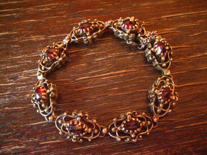 prächtig verziertes antikes Granat Armband 835er Silber vergoldet Tracht Dirndl