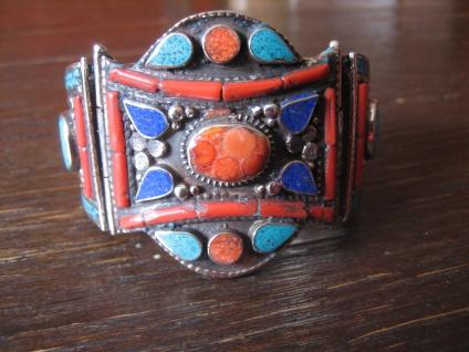 prächtiger Statement Armreif Armspange Ethno Boho Handarbeit Tibet Silber Unikat