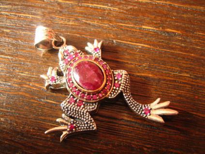 traumhafter Frosch Kröte Anhänger 925er Silber mit Rubinen großer Rubin Solitär
