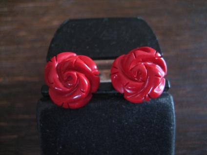 zauberhafte Ohrringe Stecker Rose Rosen Rote Koralle 925er Silber gold 13 mm NEU