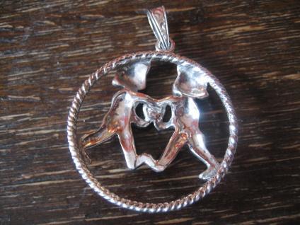 großer Art Deco Markasit Anhänger Sternzeichen Zwilling Horoskop 925er Silber - Vorschau 4