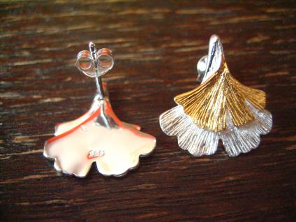 super tolle Gingko Ginkgo Blatt Ohrringe Stecker 925er Silber gold 2 Blätter - Vorschau 3