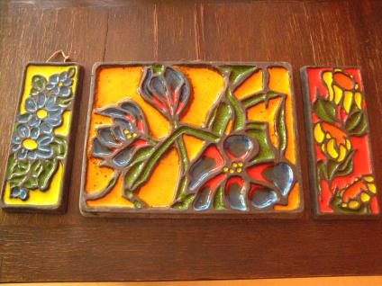 60er Jahre Wandrelief Wandbild Keramik Emaille Glasur Farbrausch Arts & Crafts