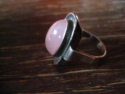 feiner eleganter Art Deco Ring rosa Rosenquarz 925er Silber RG 51 / 52 16, 25 mm - Vorschau 2