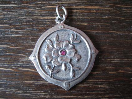 klassisch eleganter Jugendstil Anhänger 800er Silber Art Nouveau Flower Pendant