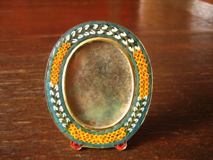reizender vintage Millefiori Mikromosaik Bilderrahmen oval zum Aufstellen
