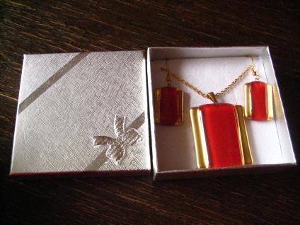 sehr edles Schmuckset Anhänger Ohrringe rot gold NEU Kunsthandwerk Arts & Crafts - Vorschau 3
