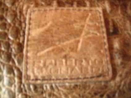 luxuriöse echt Leder Tasche Clutch Kroko Prägung beige Designer R. Leonardi - Vorschau 4