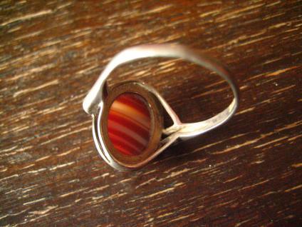 optisch reizvoller Art Deco Ring mit seltenem Streifenachat 925er Silber 19, 5 mm - Vorschau 4