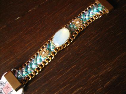 originelles Designer Statement Armband türkis gold tolle Mondstein Optik 19 cm