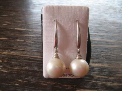 exklusive Designer Ohrringe Hänger 925er Silber Perlen Naturweiß AAAA 12 - 14 mm