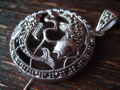 wunderschöner Markasit Anhänger 2 Goldfische Koi Karpfen 925er Silber Horoskop - Vorschau 2