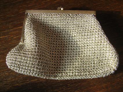 reizende vintage Abendtasche Silbertasche Tasche Drahtgeflecht Pâte de Verre - Vorschau 4