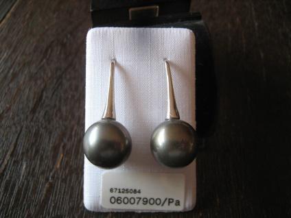 exklusive Designer Ohrringe Hänger 925er Silber Tahiti Perlen grau 11 - 12 mm